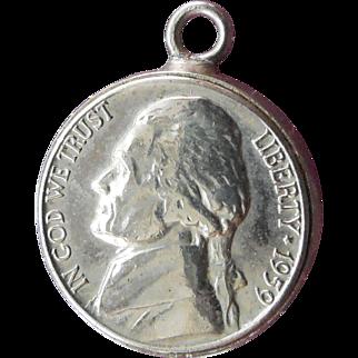 Rare 1959 Jefferson Nickel Pendant - Coin Jewelry