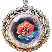Vintage Reverse Glass Rose Pendant Necklace - Red Painted Rose