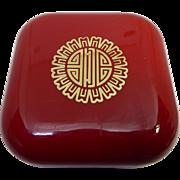 Estee Lauder Cinnabar Soap In Red & Gold Plastic Travel Box - 3.5 ounces