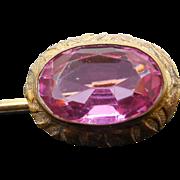 Antique Art Nouveau Stickpin With Pink Stone - Botanical Design