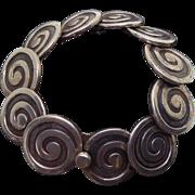 Vintage Los Castillo Sterling Silver Swirls Bracelet #317A  - 86.3 Grams