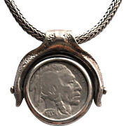 Spinning 1937 Buffalo Head Nickel Pendant Sterling Silver Snake Chain - Israel