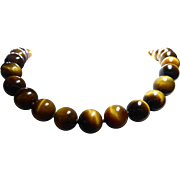 Fabulous Tigers Eye Necklace With 13mm Beads & Sterling Findings - 80 Grams!