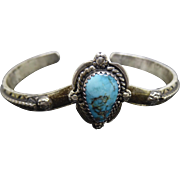 Signed Native American Sterling Turquoise Cuff Bracelet With Raised Center Stone Signed E
