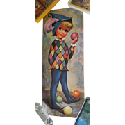 Adorable Big Eyed Print of a Harlequin Juggler with Ball - Dated 1965 and Signed Goji