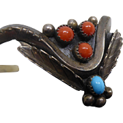 Vintage Native American Coral Turquoise Stylized Insect Cuff Bracelet Mary S Lew