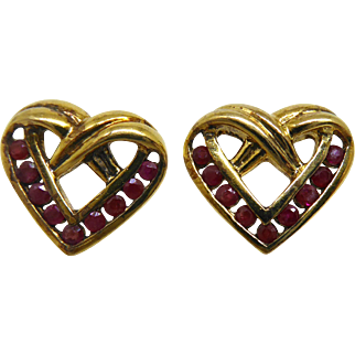 Valentine Heart Shaped Valentine's Day Earrings - Gold over Sterling with Red Gemstones