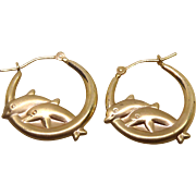 14K Gold Dolphins Jumping Through Hoops Earrings For Pierced Ears