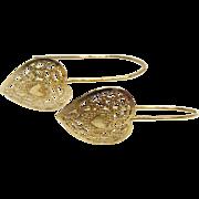 14K Gold Filigree Heart Earrings for Pierced Ears - Signed JCM
