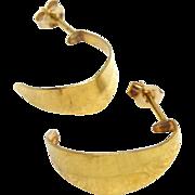 14K Gold Crescent Moon Hoop Earrings For Pierced Ears