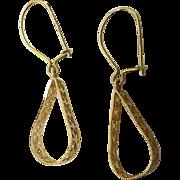 14K Gold Loop Dangle Earrings For Pierced Ears