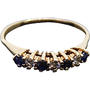 Pretty  10K Diamond and Blue Gemstone 7 Stone Ring - Size 9