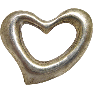 Large Sterling Silver Open Heart Brooch Vintage Taxco Mexico Signed TL-62