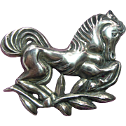 "Large Sterling Silver Horse Fabulous Vintage Brooch - 2.6""  Across & Weighs 30 Grams"