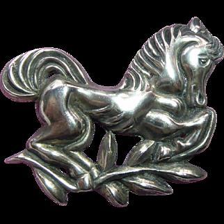 "Large Sterling Silver Horse Fabulous Vintage Brooch - 2.6""  Across & Weighs 30 Grams"