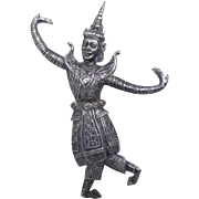 Vintage Large Siam Silver Dancer or God - Beautiful & Quite Detailed