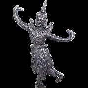 Vintage Large Siam Silver Dancer or God - Beautiful & Quite Detailed