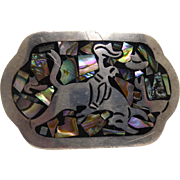 Vintage Sterling Signed Belt Buckle Inlaid Abalone Shell Rodeo Rider From Taxco Mexico