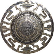 Vintage Mexican Sterling Silver Aztec Calendar Brooch / Pendant Signed Eagle 28 - Very Detailed Design!