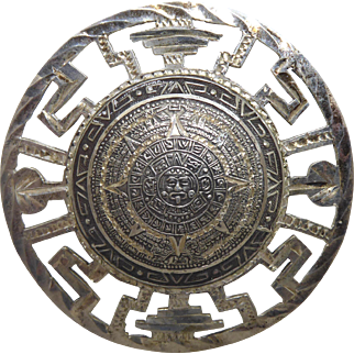 Vintage Mexican Sterling Silver Aztec Calendar Brooch / Pendant Signed Eagle 28 - Very Detailed Design!