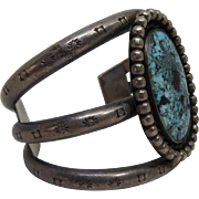 Huge Native American Cuff Bracelet Dry Creek Turquoise With Silver Nice Stampings