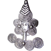 Mid Century Modernist Mexican Sterling Silver Brooch Of A Woman With Spiral Decorations & Hat