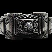 Fabulous Antique French Bracelet - Ornate Etruscan Revival Hinged Bangle