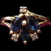 Vintage 10K Gold Diamond & Blue Gemstone Ring Size 7.5 Signed Tru Glo