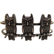 Vintage Native American Silver Owl Cuff Bracelet With 3 Owls