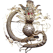 Chinese Export Silver Filigree Dragon Brooch - Marked China & Signed With Symbol