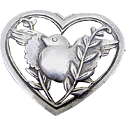 Fabulous Sterling Silver Signed Coro Pegasus Dove With Vines In Heart Brooch