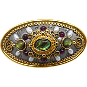 Designer Signed Michal Golan Brooch With Red & Green Crystals
