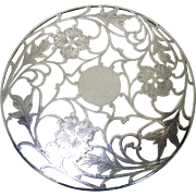 Beautiful Art Nouveau Sterling Silver Overlay Glass Trivet With Dogwood Flowers