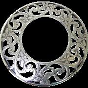 Signed Shreve & Co Art Nouveau Glass Trivet With Sterling Silver Overlay - Botanical Design
