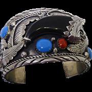 Heavy Sterling Silver Bracelet - Large Southwestern Native American Influence Bracelet