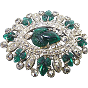 Vintage Rhodium Plated Molded Glass Fruit & Marcasite Brooch As Found