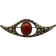 Rare Signed ORNO Mid Century Modern 800 Silver & Amber Flying Saucer Brooch