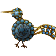 Vintage Czechoslovakia Bird Pin or Brooch with Blue Glass Stones