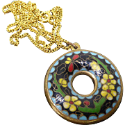 Older Vintage Chinese Cloisonne Doughnut Pendant Necklace Enamel Flowers Double