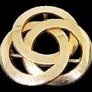 Vintage 1/20 14K Gold Pendant Brooch Signed WRE - Borromean Rings Design