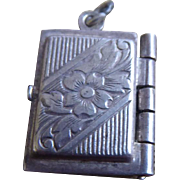 Vintage Art Deco Sterling Silver Book Locket Charm With Flower