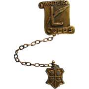 Vintage Writers Club L & Plume Chained Pins Circa 1940