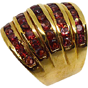 Huge Sterling Silver Gold Plated Statement Ring! 5 Band with Red CZs Size 10.5