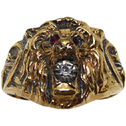 Signed Clark & Coombs Lion Head Ring - Size 8.5