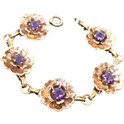 Harry Iskin Two Tone GF Bracelet Signed 'ISKIN' - Flower Links With Purple Crystals