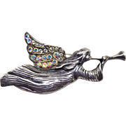 Vintage Sterling Silver Angel Brooch With AB Crystals - Signed JEZ for Jezlaine