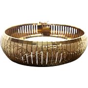 Beautiful Gold Over Sterling Silver Italian Bracelet Curly Q Pattern Signed