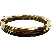 Beautiful Gold Over Sterling Silver Italian Bangle Twist Hinged Bracelet Signed V