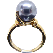 Beautiful Gold Over Sterling Faux Tahitian Pearl Black Pearl Ring - Size 7