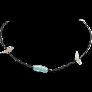 Vintage Bird Fetish Necklace with Aqua Center Bead